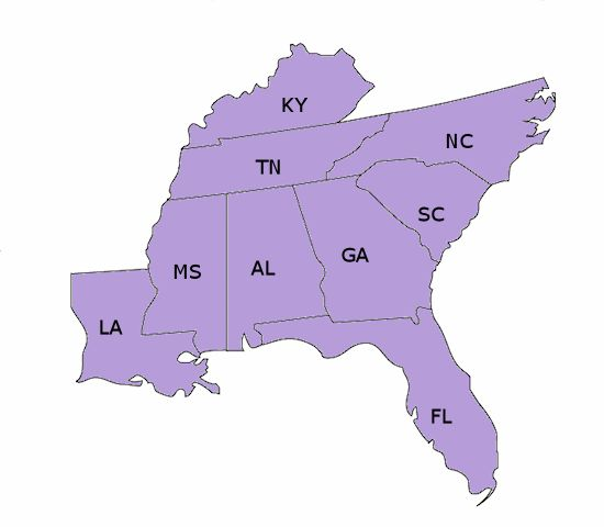 southeast region | Southeast Region States and Capitals ...