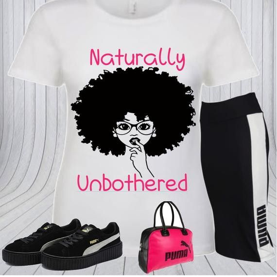 Naturally Unbothered T-shirt – Black Girl Magic – Custom T-shirt – Black Girl T-shirts – Natural Hair T-shirts – D9 Gifts