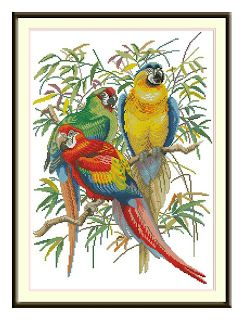 3 Burung | Toko Kristik Murah //// stunning colors, the 3 parrots will make a great center of interest on your wall, in any room