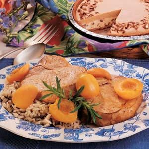 Quick Apricot Pork Chops Recipe -Marge often gives this sweet apricot treatment to the tender chops she pulls out of the freezer the night before. Then she can have supper on the table in less than a half hour.