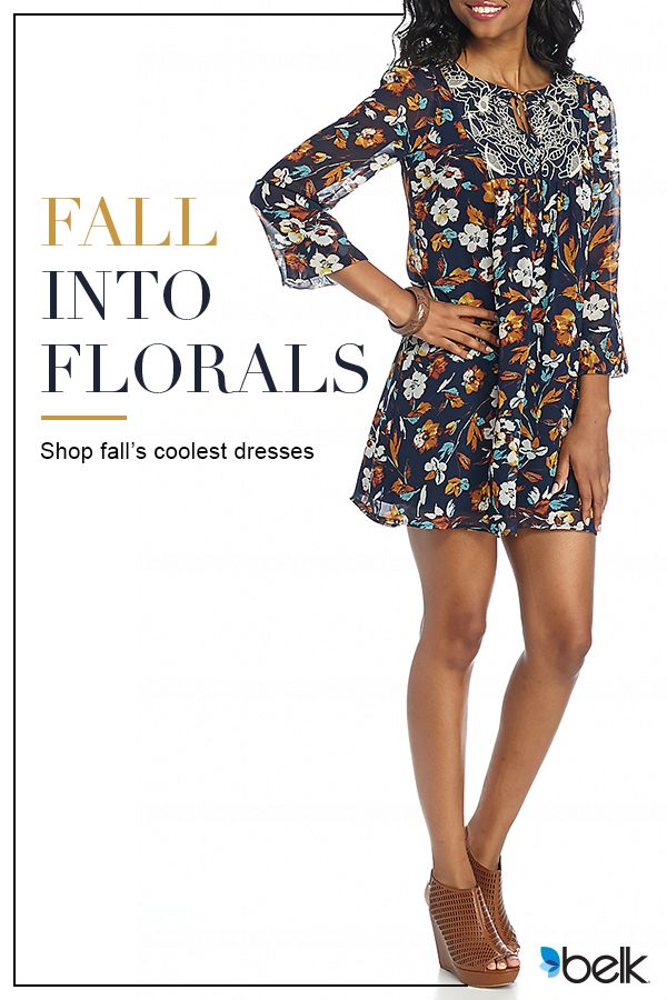 Featuring a swing silhouette and blouson sleeves, this dress from Belk is perfect for your next special event. Blooming with a gorgeous floral print and embroidery, it has feminine-chic flair you'll love. Wear it with pretty accessories and wedges for a flawless finish. Get this fresh fall piece at Belk.