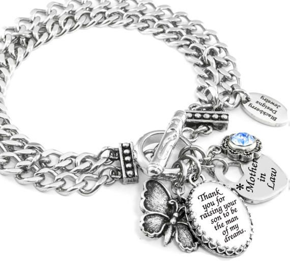 Mother in Law Bracelet, Mother in Law Jewelry, Mother of the Groom Jewelry, Wedding Charm Bracelet