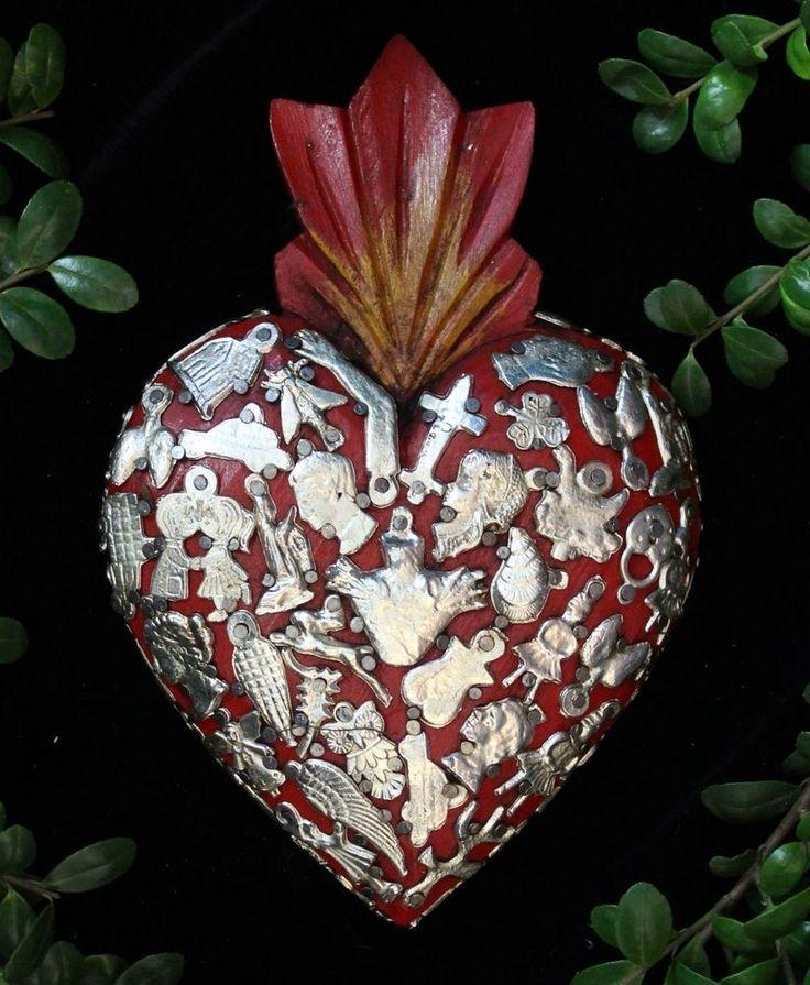 Sacred Heart Red Wood Milagro covered, Folk Art Michoacán Mexico, Love Token