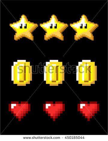 8 bit / pixelart Game Asset items - stock vector