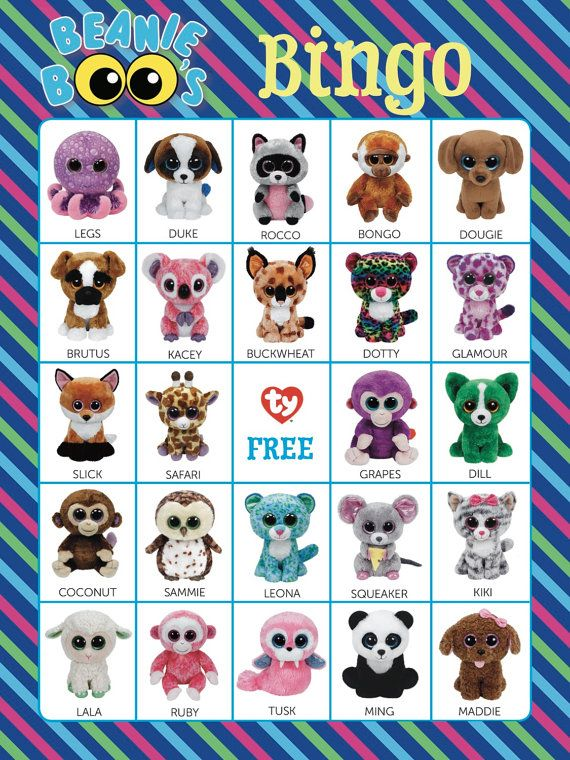 Beanie Boos Bingo Cards ~ 14 Unique Cards with EXTRA LARGE calling cards for little hands — Instant Digital Download by Bee3Shop