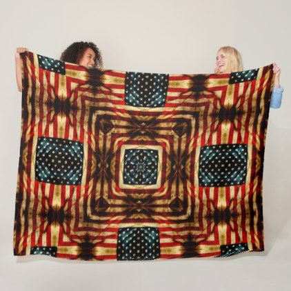 USA Steampunk Vintage Civil War Flag Quilt Fleece Blanket - home gifts ideas decor special unique custom individual customized individualized