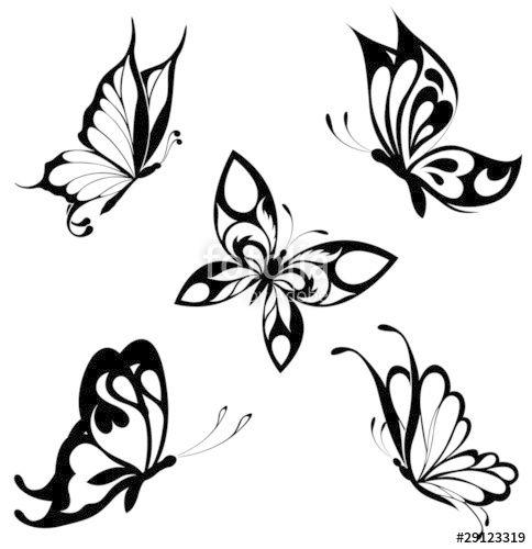 """Laden Sie den lizenzfreien Vektor """"Set  black white butterflies of a tattoo"""" von maristep zum günstigen Preis auf Fotolia.com herunter. Stöbern Sie …"""
