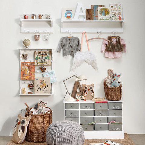 Cute mix | Kids room inspiration owls gray white shelf kids play