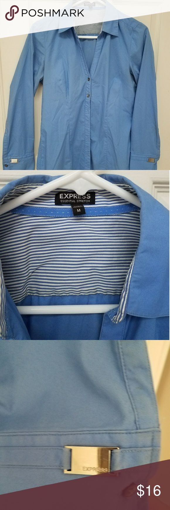 Essential express dress shirt Great color blue for work with cufflink detail Express Tops Button Down Shirts