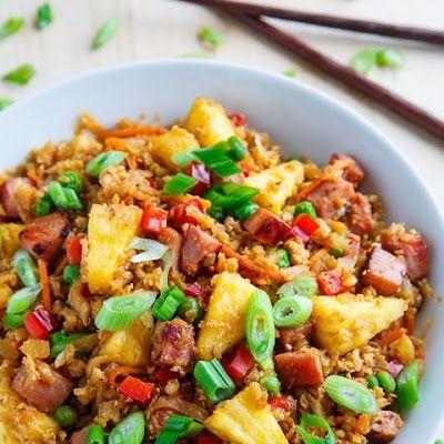 Ham and Pineapple Fried Cauliflower Rice @keyingredient