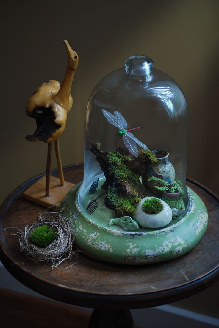 Oooh to build a curiosty sculpter under glass. Maybe paper mache and clay, with old wood and paper collages maybe.