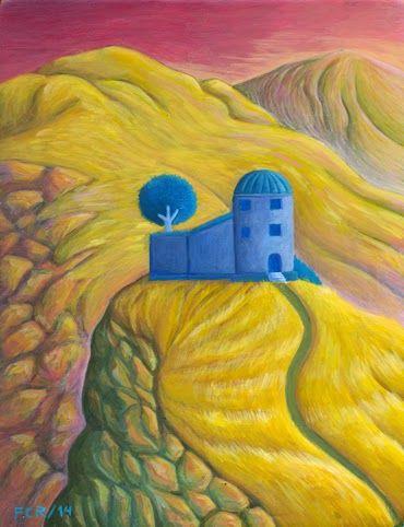 Felipe Camargo Rojas/ Atardecer en el domo del Sufí (casa con jardín interior para mi padre)/ Acrílico sobre madera preparada a la creta/ 18 x 13,5 cm/ 2014