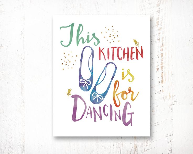 Motivational Print, Printable Art, This Kitchen Is For Dancing, Inspirational Poster, Typography Quote, Kitchen Decor, Typography Wall Art by WisdomWallArt on Etsy