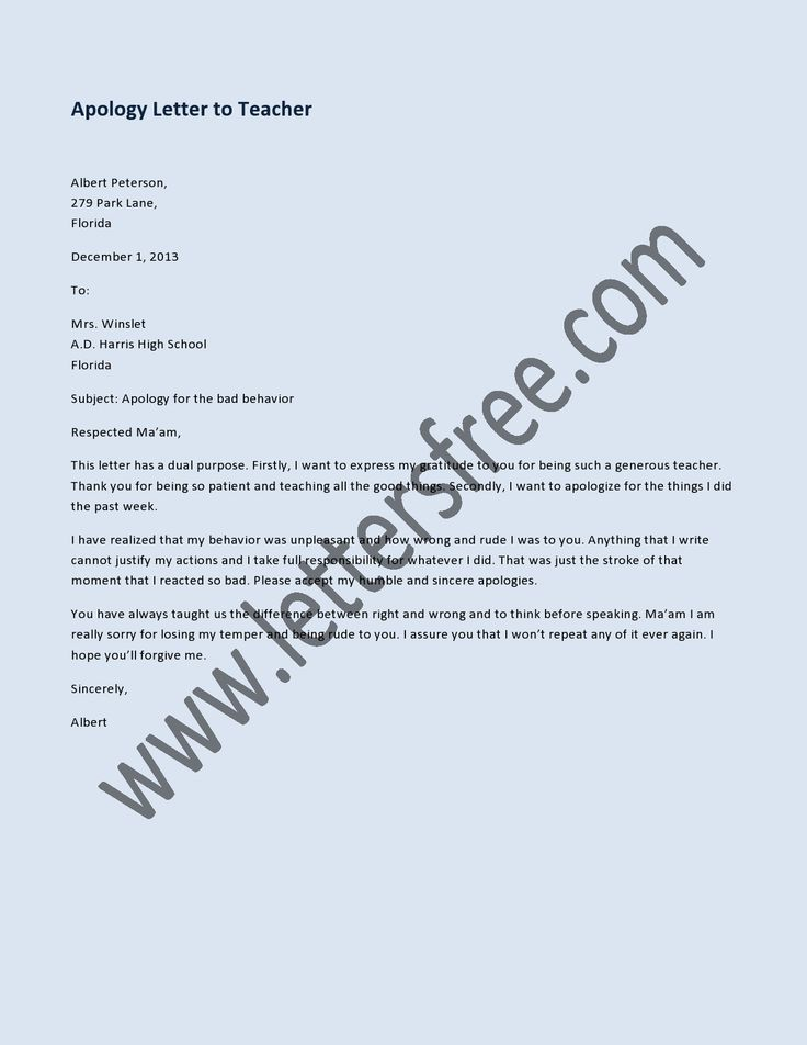 apology letter to teacher apology letter to sample apology letters 20483