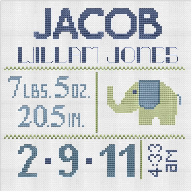 Customized Cross Stitch for Baby - Pattern. $8.00, via Etsy.
