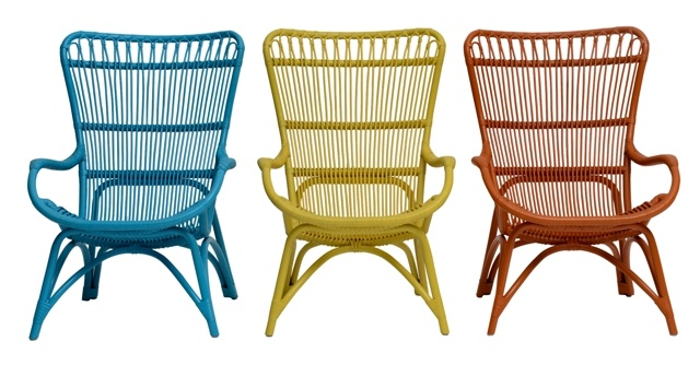 Rattan occasional chair - 67cm wide x 81cm deep x 98cm high $645   Avail in Blue, yellow, orange, dark brown and white