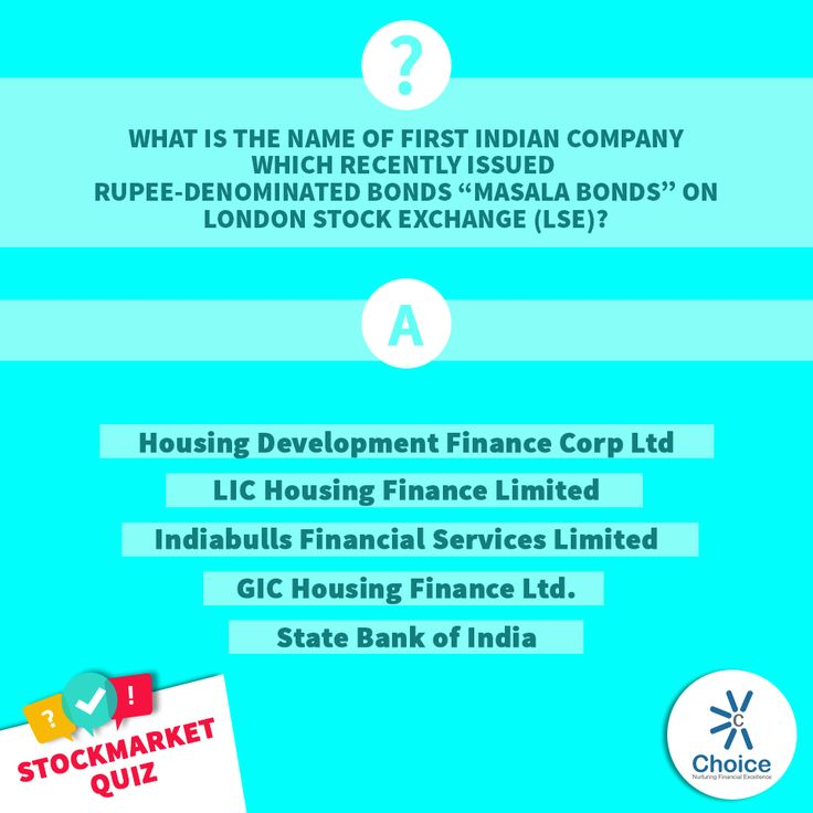 "#ChoiceBroking #StockMarketQuiz - What is the name of first Indian company which recently issued rupee-denominated bonds ""masala bonds"" on London Stock Exchange (LSE) 1. Housing Development Finance Corp Ltd 2. LIC Housing Finance Limited 3. Indiabulls Financial Services Limited 4. GIC Housing Finance Ltd. 5. State Bank of India"