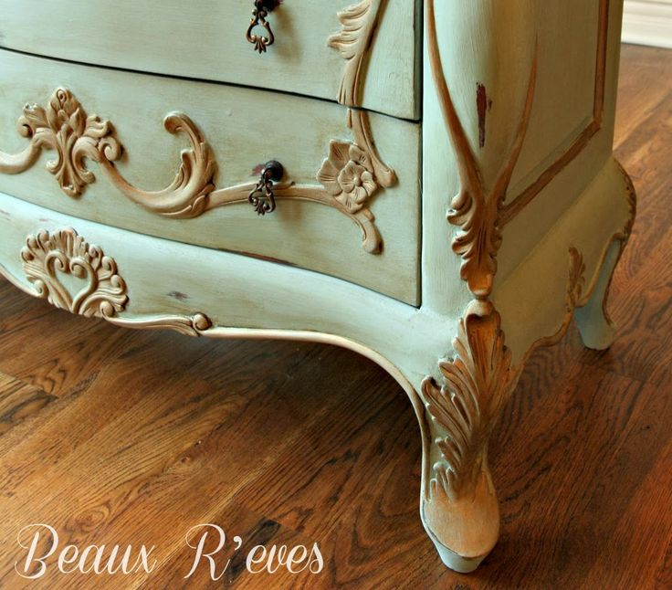 Painted Furniture :: Dark Chest Makeover With Duck Egg Blue And Old Masters  Gold At Beaux Reves: