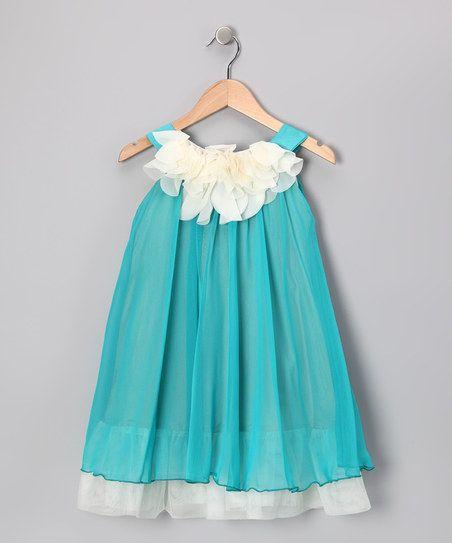Turquoise & White Floral Yoke Dress - Toddler & Girls