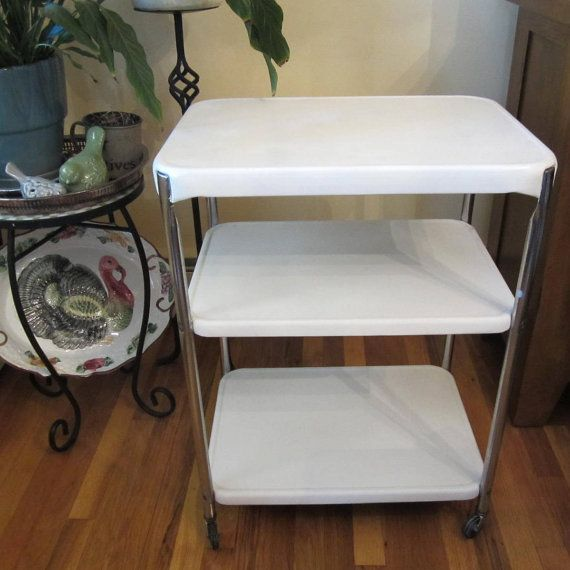 Cosco Chippy Red Metal Kitchen Cart Movable Painted Vintage: RESERVED For Lucinda