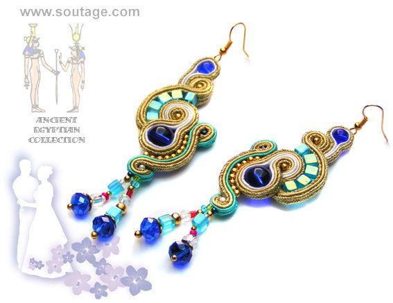 Nefertiti handmade soutache earrings with Swarovski crystals
