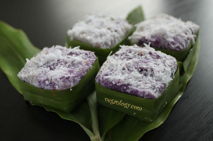 Totally Eggless, Vegan Nyonya Kuih Recipe ~ Delicious Purple Coconut Yam Kuih. Purple sweet potato, yam, red beans paste filling.