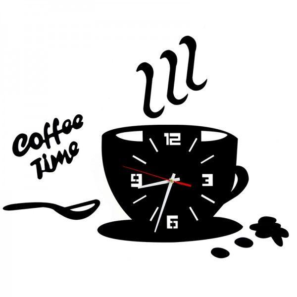 Nástenné hodiny DIY, Coffee Time, 64x43cm