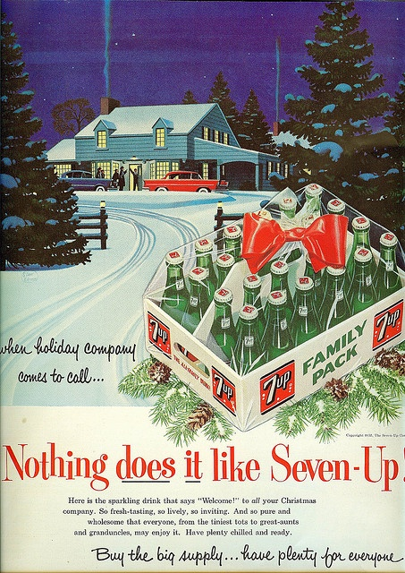 Vintage holiday ad for 7up* Free 1500 paper dolls at Arielle Gabriels The International Paper Society also free China Japan paper dolls The China Adventures of Arielle Gabriel for Pinterest friends *