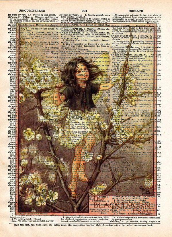 Vintage Flower Fairy art, Black Thorn Fairy, cute fairy girl, Fairy art print, Dictionary print art