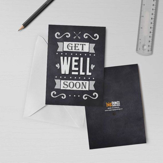 Get Well Soon Chalkboard Musical Chalkboard Card Recordable