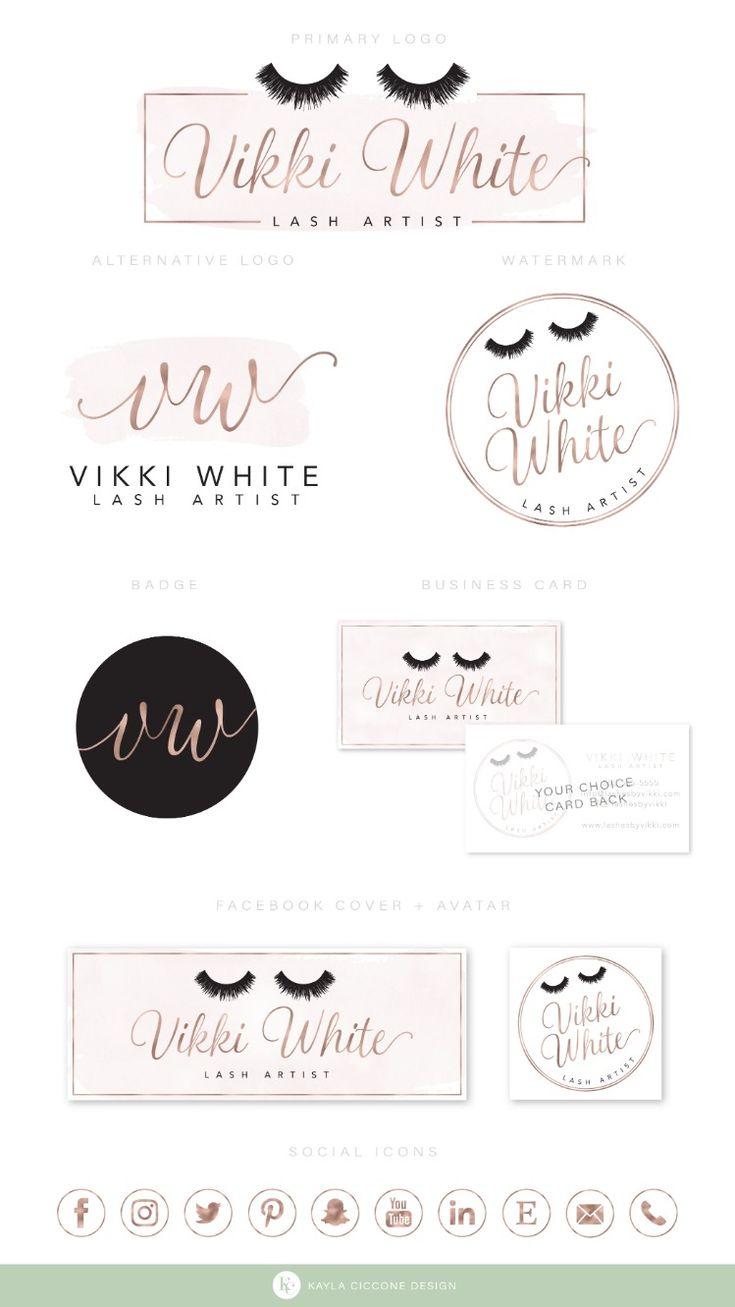 Eyelash Logo, Lash Artist Logo, Lash Logo, Rose Gold Logo, Makeup Artist Logo, Makeup Logo, Beauty Logo, Logo Set, Premade Logo, Logo Design