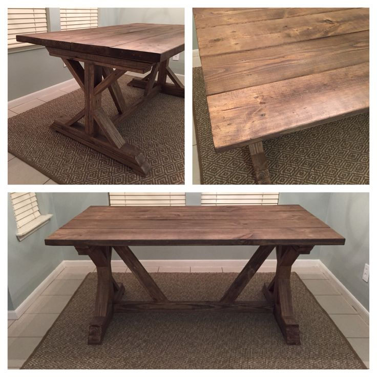 Our new farmhouse table!!! I used special walnut and then went over it with London fog. Wanted a warm gray brown stain. I love it!!!