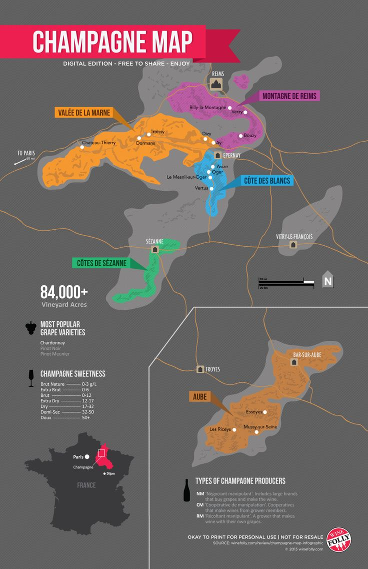 Champagne wine region: Guide by Wine Folly #wine101 #map #France