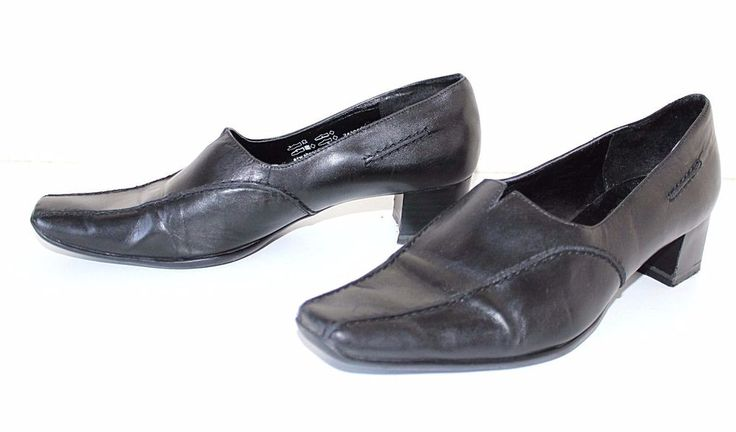 Black 100%  Real Leather JANA Slip On Low Heel Comfort Ladies Shoes Sz UK 6 EU39 #JANA #CourtShoes #WorkOfficeCasualFestival
