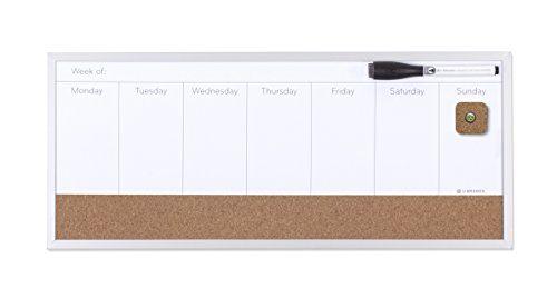 U Brands Magnetic Dry Erase/Cork Weekly Calendar Board, 18 x 7.5 Inches, Silver Aluminum Frame