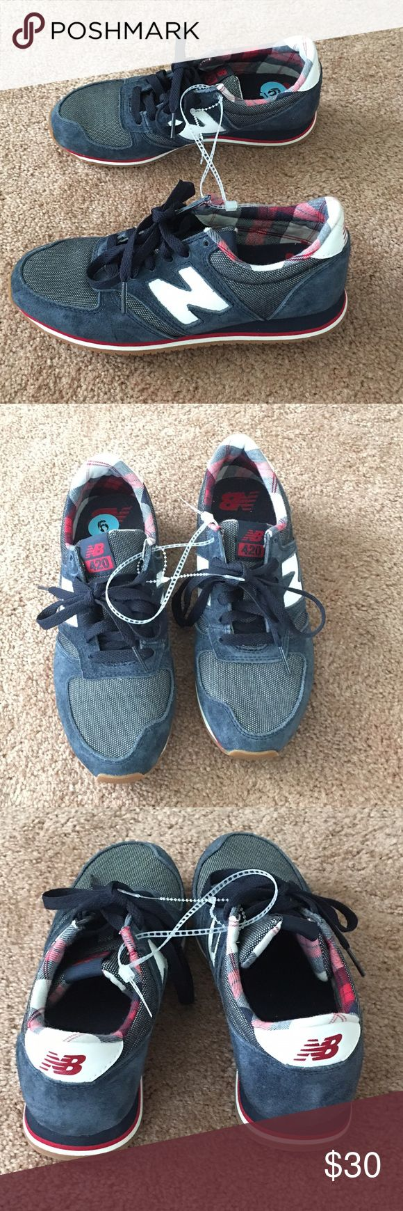 New Balance shoes, size 6, new. Red/white/blue. Never worn New Balance 420 women's size 6 athletic shoes. Red white and blue, meant to look kind of vintage with the fabric. Store tags are not attached but they have never been worn. New Balance Shoes Athletic Shoes