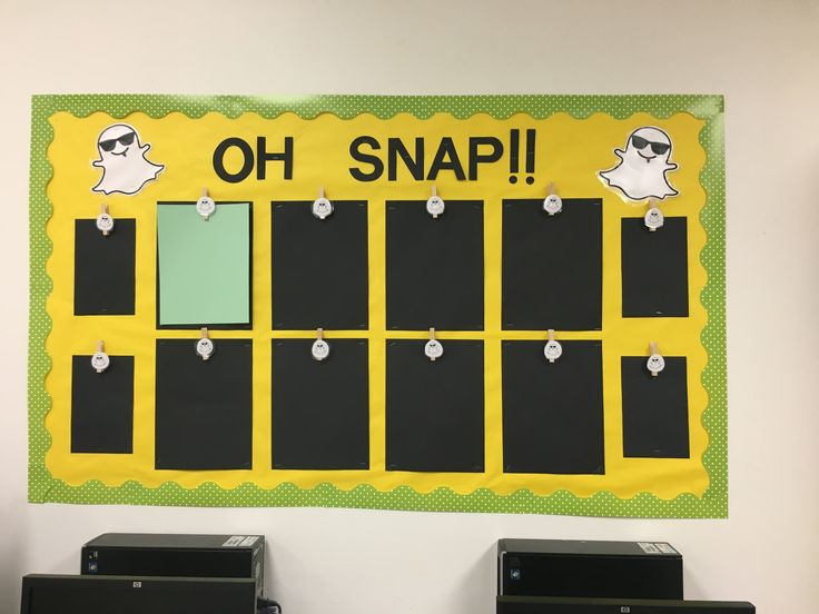 "Middle school snap chat bulletin board   Our best work ""oh snap!!!"" Bulletin board  #snapchat #ourbestwork #middleschool"