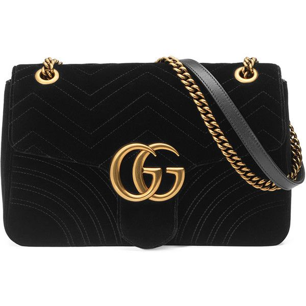 Gucci GG Marmont 2.0 Medium Quilted Shoulder Bag (198170 RSD) ❤ liked on Polyvore featuring bags, handbags, shoulder bags, black, quilted heart shaped purse, zipper handbag, chain strap purse, zip purse and chain shoulder bag