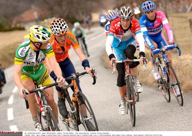 Floyd Landis watches over his rivals in 2006's Paris-Nice