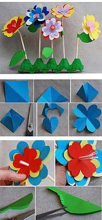 Leuke, simpele papieren bloemen. Geschikt voor het basisonderwijs.