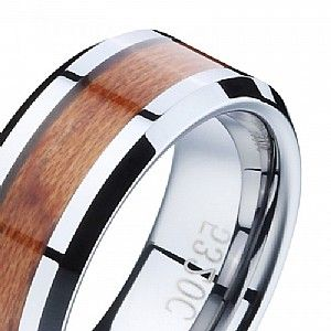 Flat Tungsten Ring with Yellow Wood Tape and Polished beveled edge