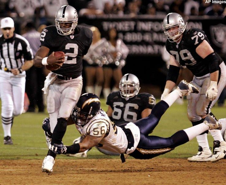 4af05614c ... Jersey 0 XL XLarge Raiders-Chargers Rivalry In Pictures QB Aaron Brooks  scampers through the San Diego secondary ...