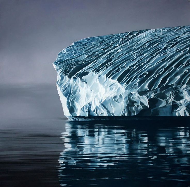 At first glance, these images look like like photos of glaciers and icebergs afloat on tranquil and frigid seas. The truth is somewhat more interesting, however – they're enormous soft pastel finger drawings by U.S. artist Zaria Forman.
