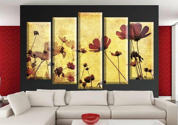 Tablouri Paper-flower 4573 Dimensiuni: 2x 25x60 - 2x 25x70 - 1x 25x80 cm Total: 125x80 cm