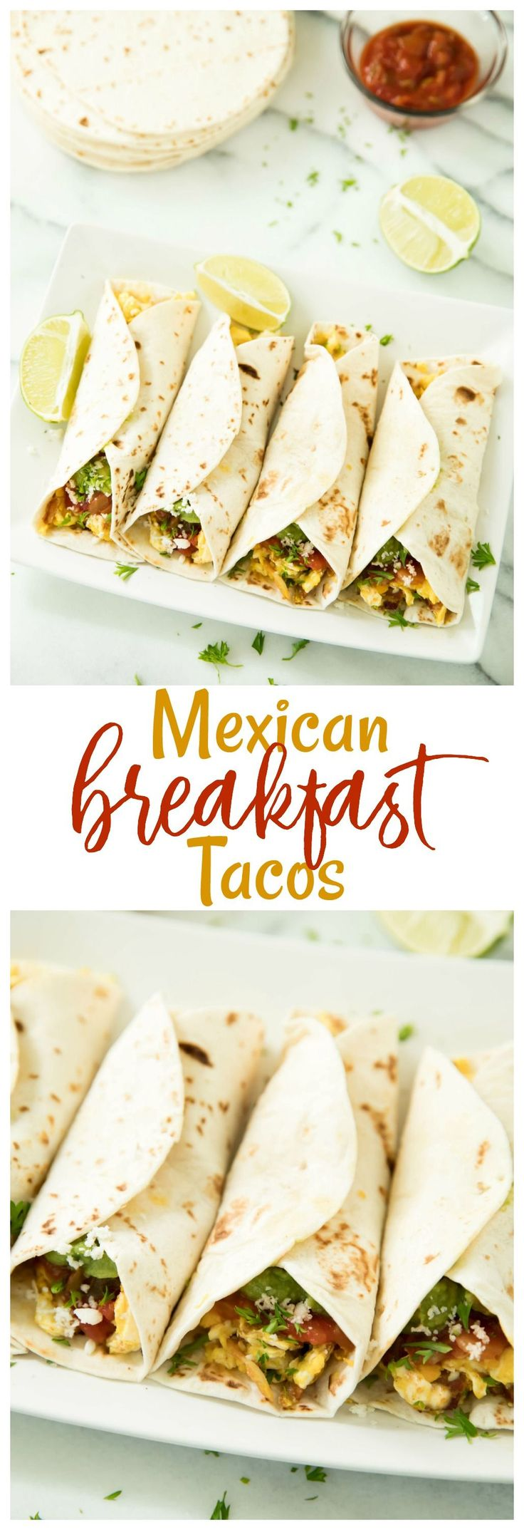 These Mexican Breakfast Tacos are the perfect healthy morning meal for on-the-go. They're so easy, delicious and can be made gluten free and vegetarian to please the whole family! AD