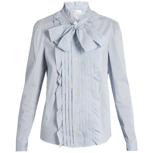 REDValentino Ruffle-trimmed cotton-blend poplin shirt (€295) ❤ liked on Polyvore featuring tops, blouses, ruffle blouse, neck ties, neck tie blouse, bow neck tie and bib shirt