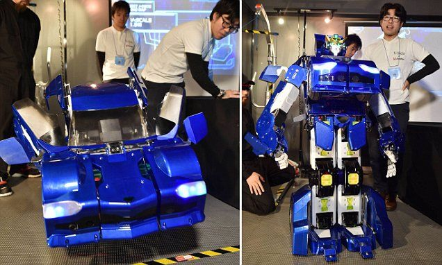 Japanese inventors have unveiled their humanoid Transformer robot (pictured). Called 'J-deite quarter' it can change from a robot into a car. The current model is 4.3ft (1.3 metres) tall.