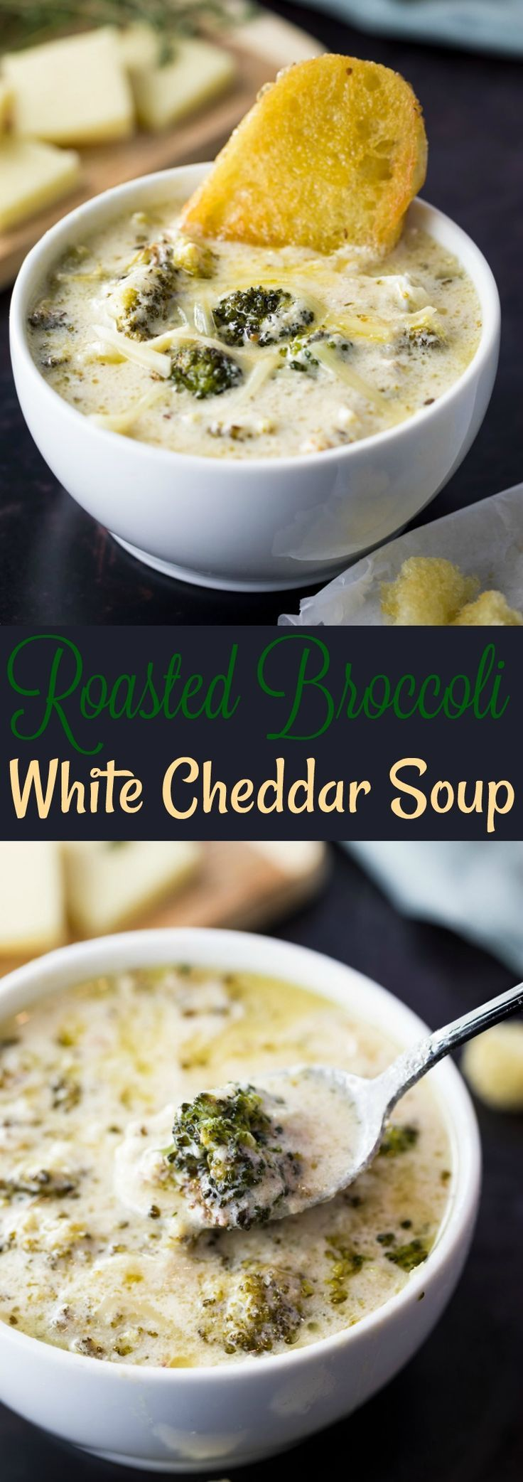 Creamy white cheddar cheese soup enriched with the flavors of perfectly roasted broccoli and melted Parmesan.