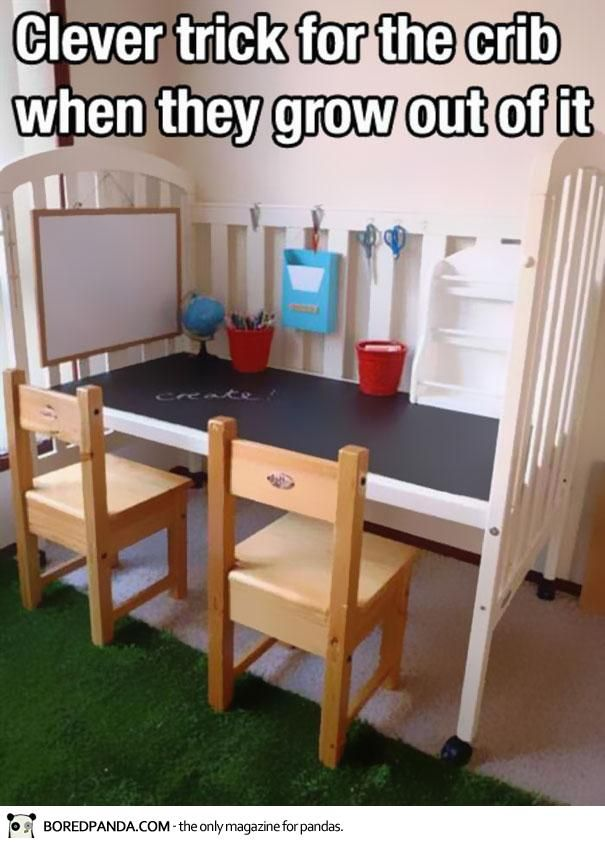 Clever trick for the crib when they grow out of it...we have an unused cot sitting around...to sell or to do this?