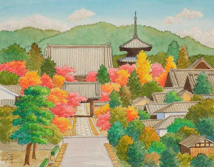 風景イラスト 水彩「京の四季」 真如寺の紅葉_左京